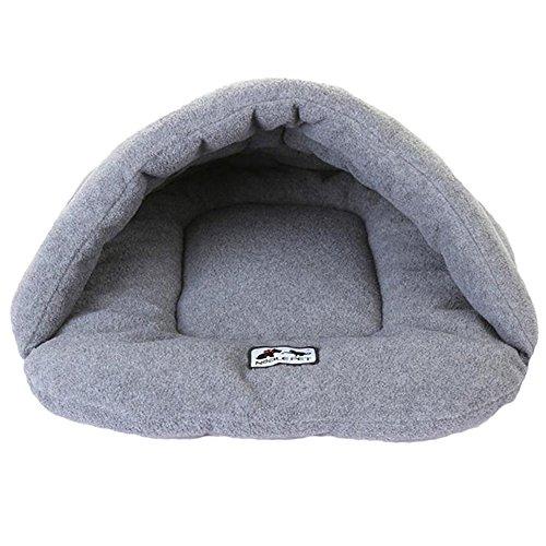 Japace ® Einzelne Hundebett Hundehaus Hundehöhle Haustier Bett Warm Schlafsack Matte Korb Kissen hundehütte für Hunde, Katzen - Grau, Größe M 48*58 cm