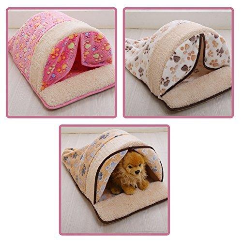 Creation® Nette warme weiche Fleece Pet Kennel Bett mit Vorhang Schlafsack -Design mit Tatzen-Druck für kleine Katzen und Hunde (braun)
