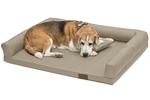 LUCKY Ortho Orthopädisches Hundebett Schlafplatz Hundekissen Größe: M-XXL (XL 130x95cm, beige (Nr.21))