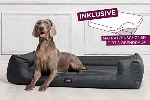 tierlando® G3-02 Orthopädisches Hundebett GOOFY VISCO fest gewebtes Polyester Hundesofa Hundekorb Gr. M 80cm Graphit Anthrazit Ortho