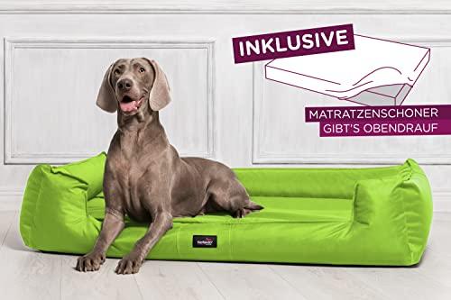 tierlando® G3-19 Orthopädisches Hundebett GOOFY VISCO fest gewebtes Polyester Hundesofa Hundekorb Gr. M 80cm Neon Kiwi Grün Ortho