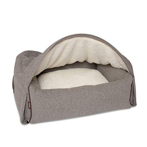 Kona Cave - Eine Kuschelhöhle für ihren Hund, Luxus Hundebett zum reinkriechen, klassisch, elegant, hochwertig, das beste Bett für Hunde, die gerne unter die Decke kuscheln (Klein, Flanell, Grau)