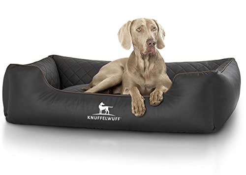 Knuffelwuff 13965-007 gestepptes Leder Hundebett Milan Übergröße, schwarz