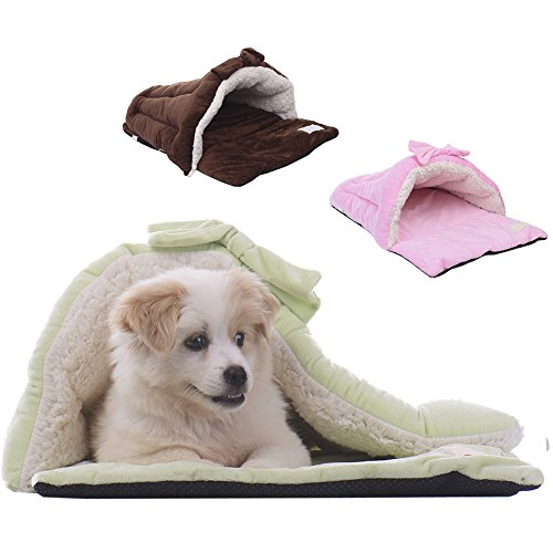 Haustier Haus Bett Sofa Matte Schlafsack mit Schleife Weich Warm für Hunde/Katze LianLe