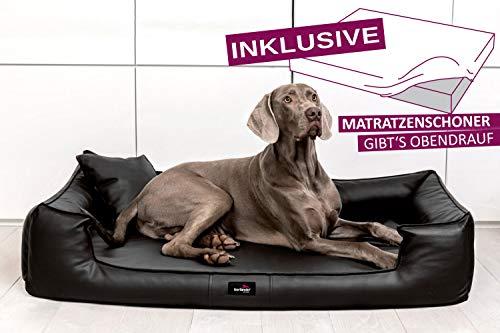 tierlando® G5-L-03 Orthopädisches Hundebett GOOFY VISCO Anti-Haar Kunstleder Hundesofa Hundekorb Gr. XL 120cm Schwarz Ortho
