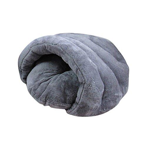 YOUJIA Hausbett Hundehaus Hundehöhle Haustier Bett Warm Schlafsack Matte Kissen Hundehütte Für Hunde Katzen (Grau, M)