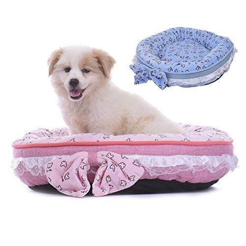 Haustier Haus Bett Sofa Matte Pink Blau mit Schleife Weich Warm für Hunde/Katze LianLe