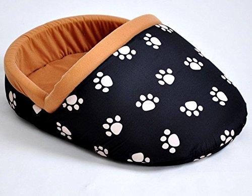 nanook Hundebett, Katzenbett Pantoffel - Größe XL, kuschelig, waschbar, schwarz mit beigen Pfoten