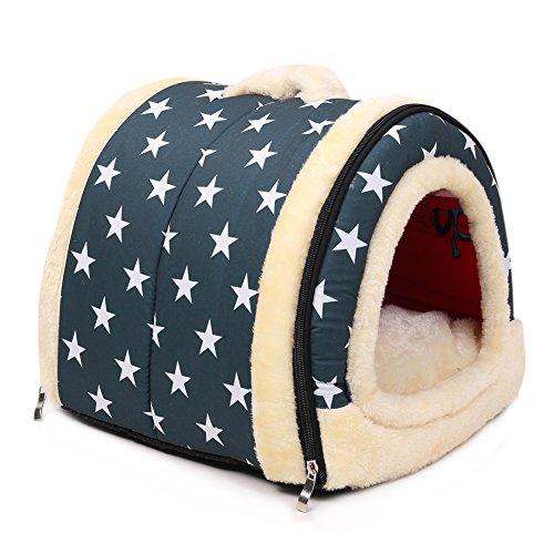 Waterloo Haustier Warme Gemütliche Faltung Dual Use Hundebett Hundehütte Cat Bett Pussy-Loch Doghole Und Pet Home Abnehmbar (60X45X45CM, blau)