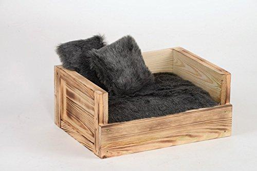 Silvio Design   Tiersofa Skyler mit zwei Kissen   L 34 x B 45 x H 20 cm, Farbe:grau