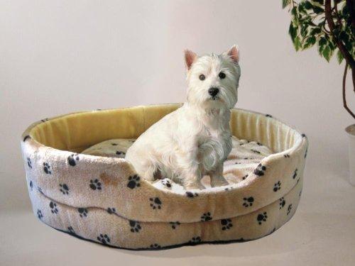 Silvio Design Hundeliege, Hunde-Schlafkissen, Hundekorb, Hundebett Silvio, Motiv: Pfotendessin Größe: L, Maße: ca. 62 x 70 x 20 cm