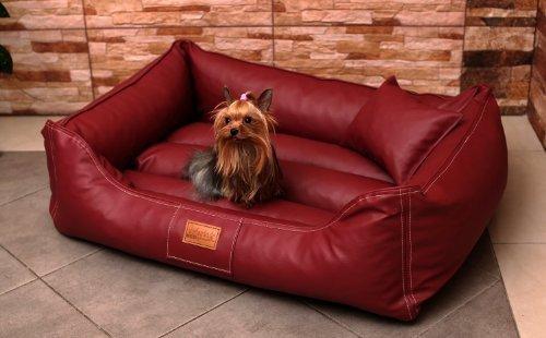 MA3-LL-04 Hundebett Maddox KUNSTLEDER Hundesofa Hundekorb Gr. M 80cm Bordeaux Rot