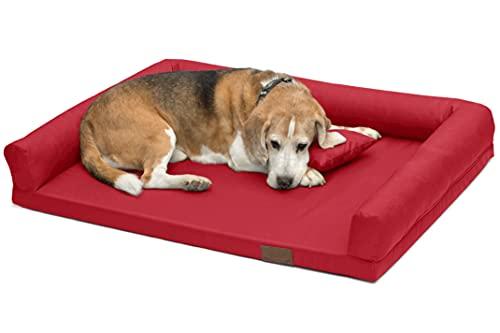 LUCKY Ortho Orthopädisches Hundebett Schlafplatz Hundekissen Größe: M-XXL (L 100x75cm, rot (Nr.11))