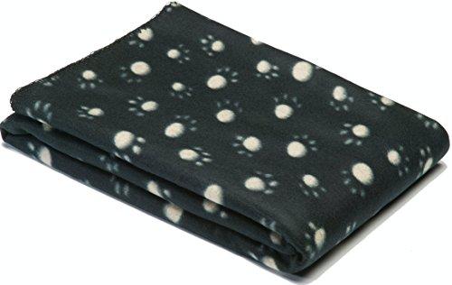 Haustierdecke für Hunde / Katzen oder Haustiere weichem Fleece Jumbo pet Decken mit paw Design - bietet Komfort und Wärme für Ihre Haustiere (schwarz) (Schwarz)