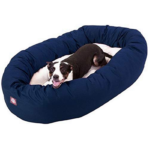 Majestic Pet Hundebett in Bagel-Form, 101,60 cm, blau mit Sherpa-Fleece, von Majestic Pet Products